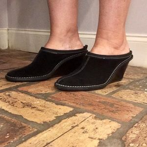 Cole Haan Black Suede Heeled Mules with Stitching